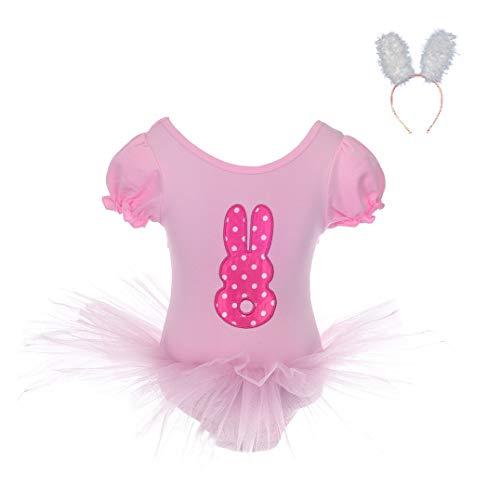Daisy Ballet Tutu - Dressy Daisy Girls' Ballet Tutu Dance Rabbit Costume with Headband Fancy Party Dress Size 4-5 Pink