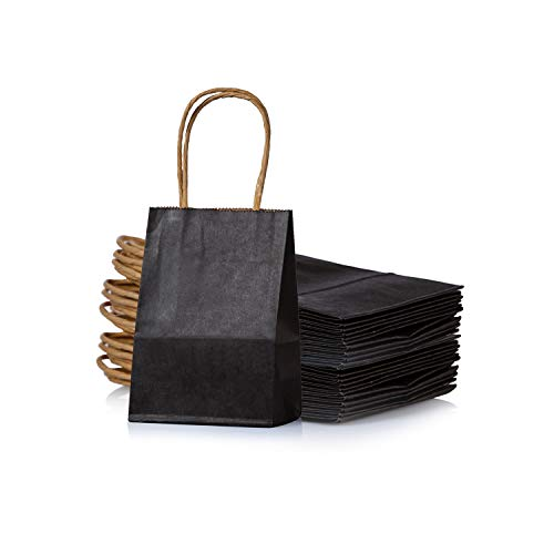 Small Black Paper Bag with Handle Party Favours Bag 6x4.5x2.5 inch for Wedding Birthday Baby Shower Recycled Giveaway Bag, Pack of 24 ()