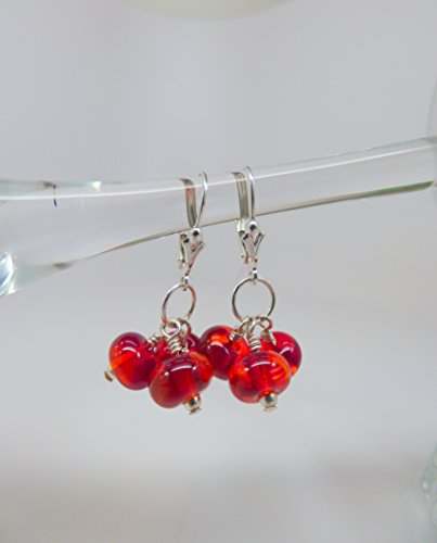 Bright Cherry Red Artisan Dichroic Bead Triple Drop Earrings with Sterling Silver (Dichroic Round Bead)