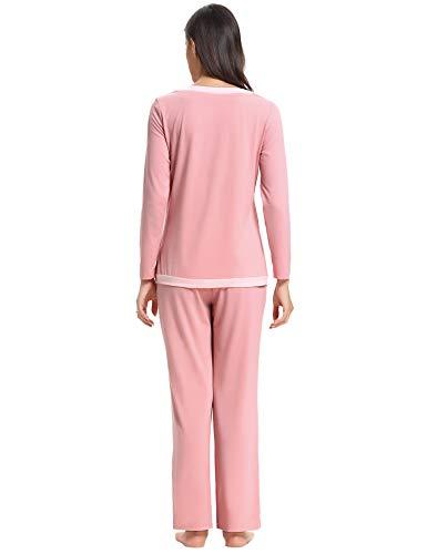 Pour Hiver Nuit Longue Chaud Vêtements Manche Toutes Femmes Aibrou Les Rose Pyjama Saisons Coton De qxwv4WHU