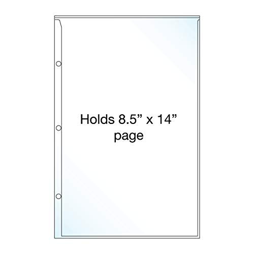 EnvyPak Clear Legal Size 3 Hole Punch Page Protector - Holds Individual 8 1/2 x 14 inch Legal Sheets - Pack of 50