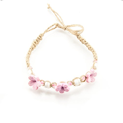 - Hemp Anklet Bracelet with Puka Clam Shell Beads, Light Pink Glass Beads and Light Pink 3D Fimo Flower Beads