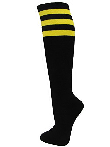 Cotton Striped Knee High Socks - Couver Black Striped Knee High Fashion Casual Tube Cotton Socks, Yellow (1 Pair)