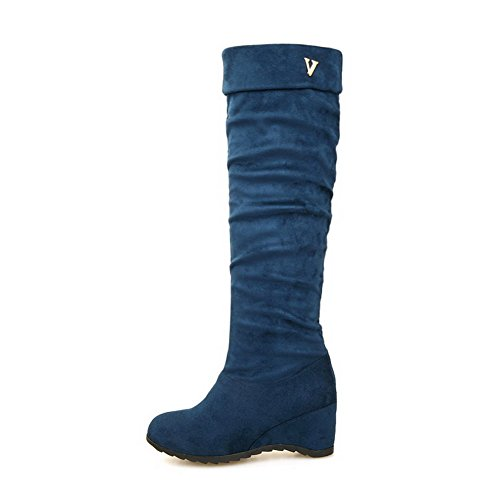Allhqfashion Women's Solid Imitated Suede Kitten-Heels Pull-on Round Closed Toe Boots Blue 8MbIXvc
