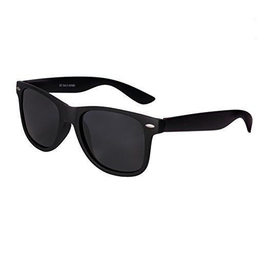 Nerd Sunglasses Matt Rubber Style Retro Vintage Unisex Glasses Spring Hinge Black - 24 Different Models (Black-Black, - Sunglasses Nerd