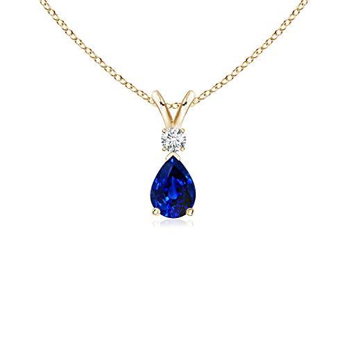 (Blue Sapphire Teardrop Pendant with Diamond in 14K Yellow Gold (6x4mm Blue Sapphire) )