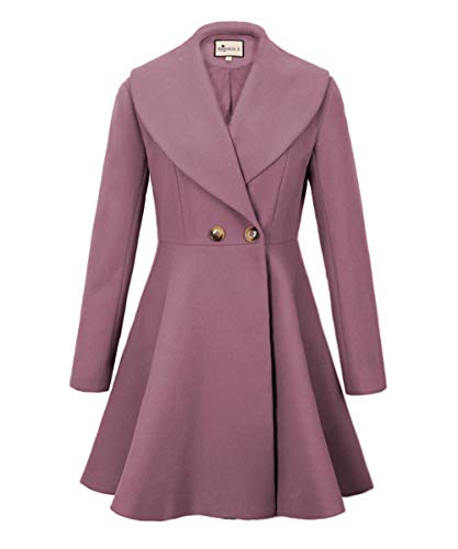 - Begonia.K Women's Wool Trench Coat Lapel Wrap Swing Winter Long Overcoat Jacket (US S=Tag M, Pink)
