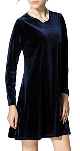 Jaycargogo Manches Longues Velours Col Rond Féminin Flare Robe Courte Lâche 1