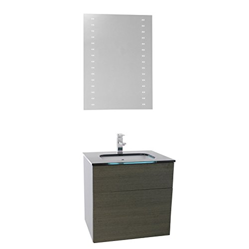"""free shipping Iotti Iotti TN556 Time Bathroom Vanity with Black Glass Top Wall Mounted and Lighted Mirror Included, 24"""", Grey Oak"""
