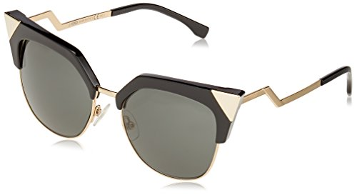 Fendi Women's Iridia Crystal Corner Sunglasses, Black Gold/Grey, One - Sunglass Fendi