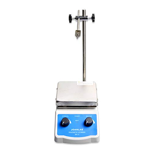 JoanLab SH-2 Integrated Magnetic Stirrer with Analog Hot Plate, 2,000mL, 100-1400rpm, 350°C Max. Temp, 30mm Stir Bar and Thermometer Support Stand Included