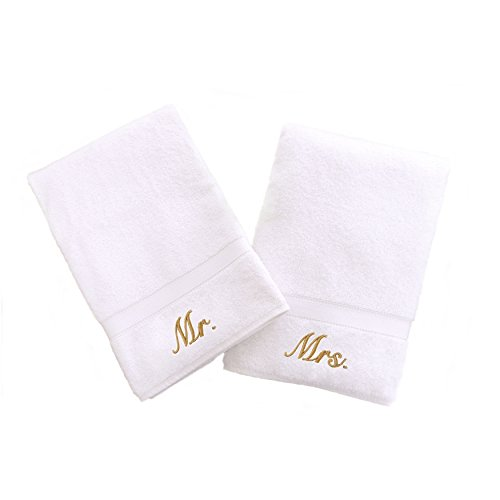 Linum Home Textiles Personalized Mr. and Mrs. Hand Towel, Set of 2