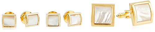 Stacy Adams Men's Square with Mother Of Pearl Cuff Link Stud Set, Gold, One Size by Stacy Adams