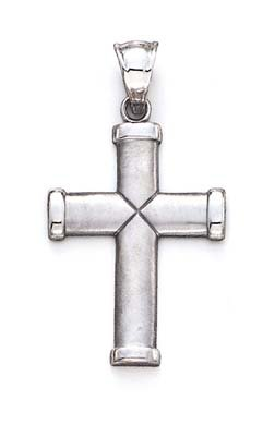 Grande taille Blanc 14 Carats Pendentif Croix X JewelryWeb CENTRAL