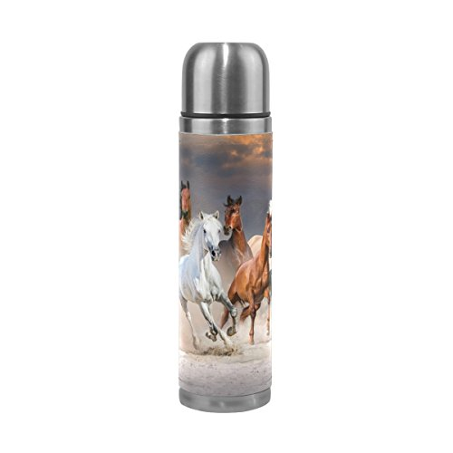 - ALAZA Running Horse Stainless Steel Water Bottle 17 Oz Double Wall Vacuum Insulated Thermos Flask Genuine Leather Wrapped Cover