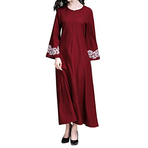 Women Summer High Waist Maxi Dress, Long Tunic Belt Puff Sleeve Embroidered Muslim Asian Robe Gowns Dress M-2XL ()