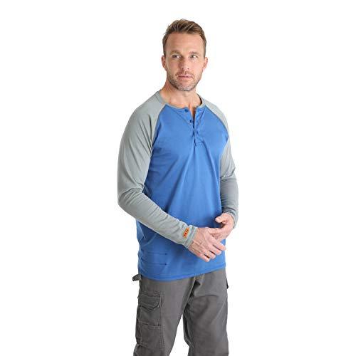 Wrangler Men's FR Flame Resistant Knit Baseball Henley, Blue, S