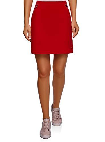 oodji Ultra Femme Mini-Jupe Poches Rouge (4501n)