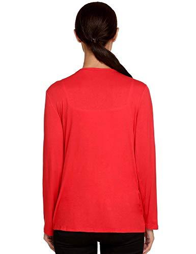 Color Outerwear Bolsillos Día Camisas Sólido Mujeres Mujer Delanteros Manga Rot Casual Cómodo Larga Otoño Casuales Chaqueta Battercake Cardigan A6vaFqwnwY