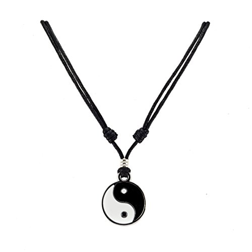 BlueRica Yin Yang Pendant on Adjustable Black Rope Cord Necklace (Yin Yang Necklaces)