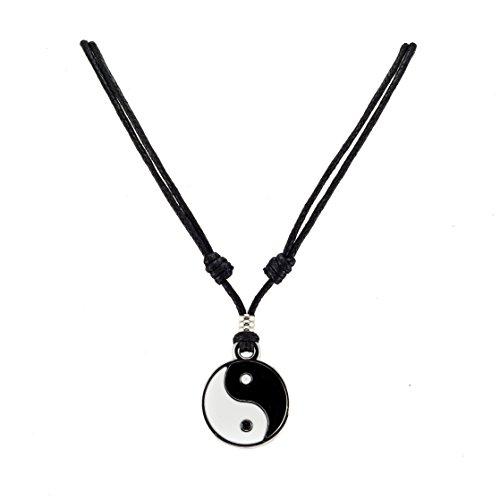 Yin Yang Pendant on Adjustable Black Rope Cord Necklace (Yin Pendant)