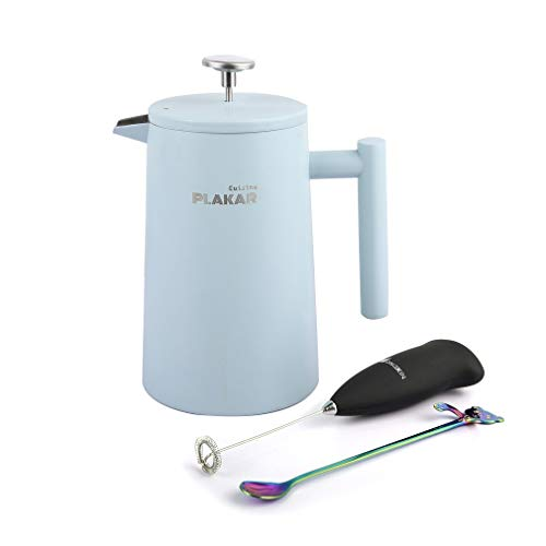 French Press Coffee Maker 34 oz. Elegant, Vintage Design Double-Wall, Vacuum Insulated Smooth-Pouring Spout Enjoy Single Cup or Full Pot Candy Blue – By PLAKAR