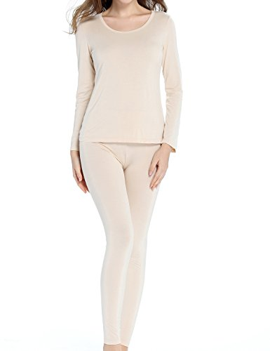 Liqqy Women's Scoop Neck Ultra Thin Long Johns Top and Buttom Thermal Underwear Set (X-Large, (Womens Lightweight Long Underwear)