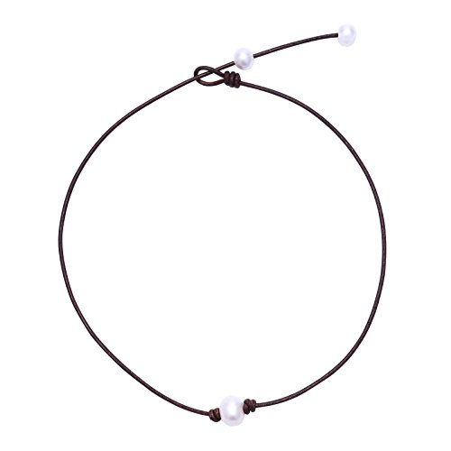MAIMANI Handmade Single Pearl Choker Necklace on Brown Genuine Leather Cord for Women (15-17