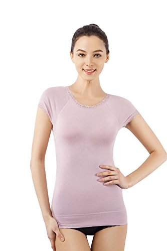 MD Super Soft Light Control Body Shapewear Seamless Short Sleeve Shirts Slimming Shaping Lace Top for Women Purple