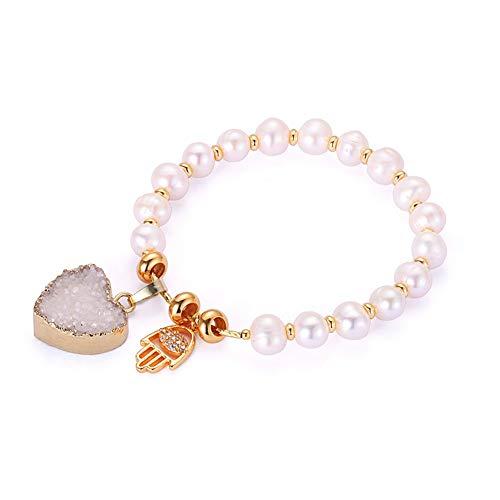 Bohemian Round Natural Freshwater Pearl Bracelets | 20mm Heart Druzy Crystal Bracelets | Evil Eye Charm Bracelets | for Women