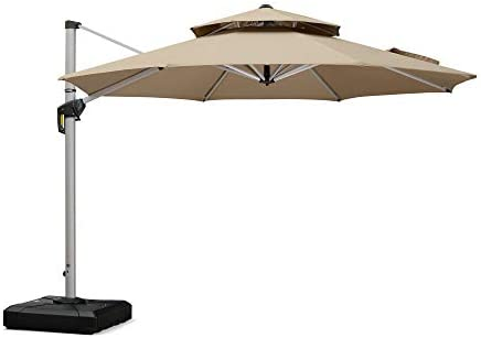 PURPLE LEAF 11 Feet Double Top Deluxe Sunbrella Round Patio Umbrella Offset Hanging Umbrella Cantilever Umbrella Outdoor Market Umbrella Garden Umbrella, Beige