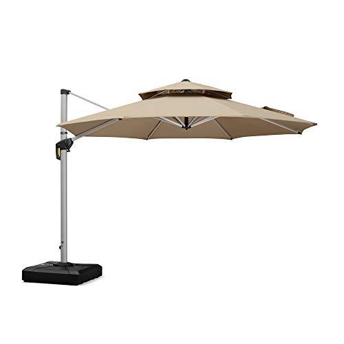 PURPLE LEAF 11 Feet Double Top Deluxe Sunbrella Patio Umbrella Offset Hanging Umbrella Cantilever Umbrella Outdoor Market Umbrella Garden Umbrella, Beige (Commercial Offset Umbrellas Patio)