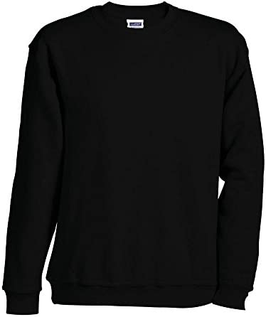 James & Nicholson - Sweatshirt 'Round Sweat Heavy' - bis 5XL / black, 5XL 5XL,Black