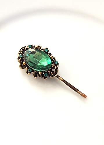 Vintage Green Antique Style Hair Clip, Bridal hairpin, Jewelry, Bronze Hair ClipS, Hair Pin, Amazing Pin with Green Stone, Bobby Pins