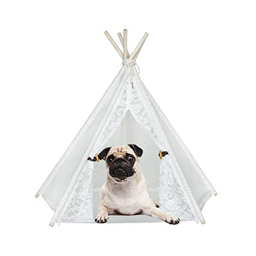 - Pet Teepee Lace Dog Cat House Bed Teepee Pet Tent with Floor Mat Cotton Canvas Fabric Dog Tipi 24 inches Portable Movable Pet House Tent White Lace Style