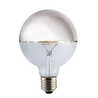 LED Vintage RLED Bombilla LED con Luz Cálida E27, 8 W, Plata, 12 x 18 cm: Amazon.es: Iluminación