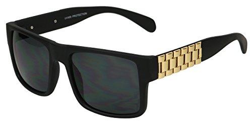 Basik Eyewear - Modern Super Flat Top Chain Watch Link Square Accent Sunglasses (Gold Chain, - Chain Sunglasses Link