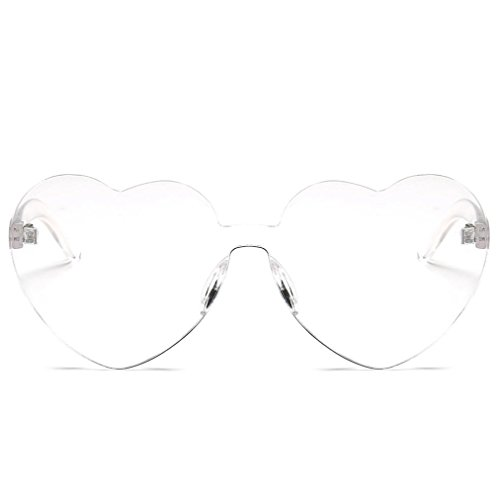 Heart-Shaped Shades Vertily Sunglasses UV400 Candy Colored Eyewear Clout Goggles (White)