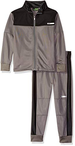 (RBX Boys' Big Tricot Zip Jacket and Pant Set, Castlerock/Black, 12)