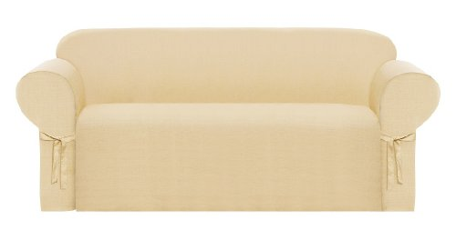 Chezmoi Collection Solid Heavy-Duty Jacquard Fabric Couch/Sofa Cover Slipcover, Wheat