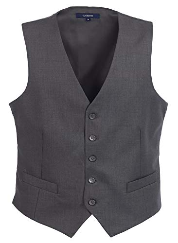 Gioberti Mens 5 Button Formal Suit Vest, Charcoal, X-Large ()