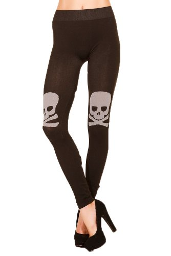 ll Print Seamless Leggings (S, Jolly Roger Skull) (Pirate Leggings)