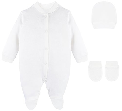 Lilax Baby Girl 3 Piece Solid Color Soft Cotton Footie, Hat and Mittens Layette Gift Set 3-6 White