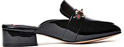 Calaier Femmes Catalented Square-orteil 4cm Bloc Talon Slip-on Mule Chaussures Noir