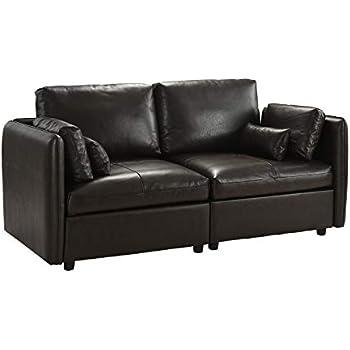 Amazon.com: Moderno sofá de piel para sala de estar., Cuero ...