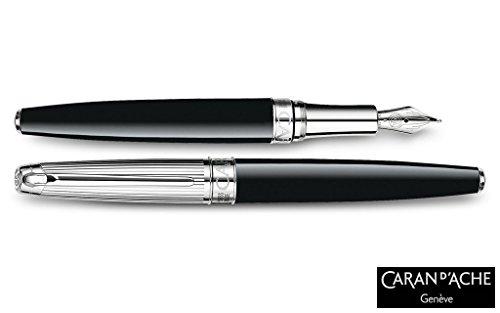 Caran D'ache Leman Bicolor Black silver plated/rhodium Medium Point Fountain Pen - CA-4799289