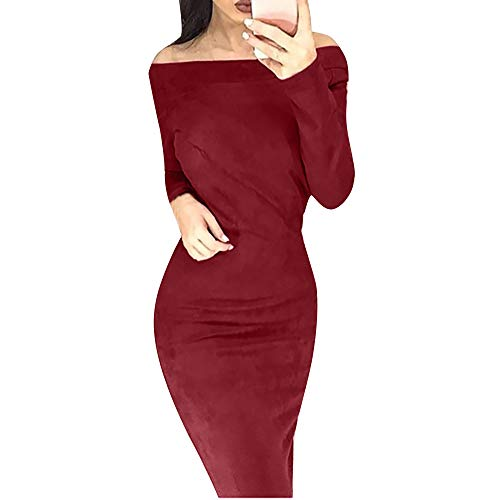 GREFER Fashion Women Dress Huge Suede Long Sleeve Solid Off Shouder Bodycon Party -