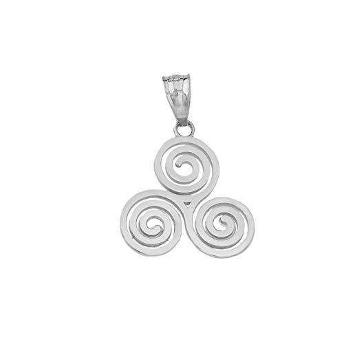 Dazzling 925 Sterling Silver Irish Celtic Knot Triskele Triple Spiral Charm Pendant