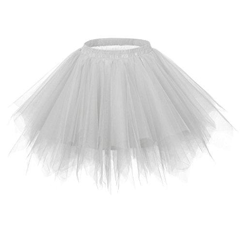 Ellames Women's Vintage 1950s Tutu Petticoat Ballet Bubble Dance Skirt Silver S/M -
