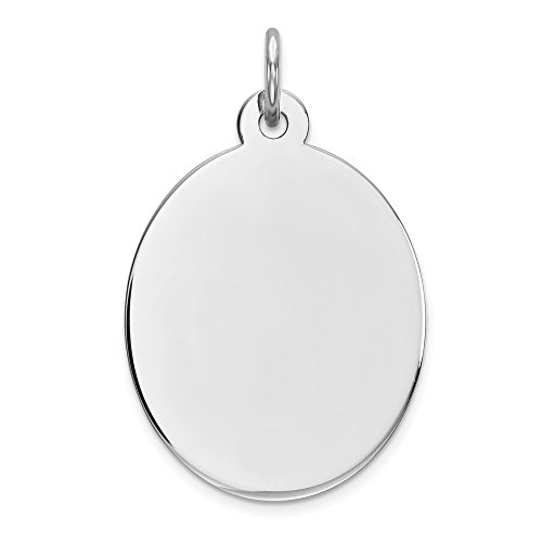 Sterling Silver Rhodium-plated Engravable Oval Polished Front Disc Charm Pendant 26mm